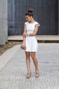 Trendy ideas for fashion week looks wedding dresses Little White Dresses, White Outfits, Cool Outfits, Casual Outfits, Short Dresses, Prom Dresses, Summer Dresses, Civil Wedding Dresses, Look Office