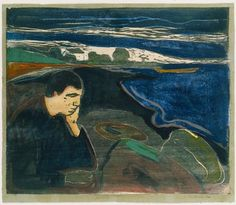 Evening, Melancholy I / Edvard Munch / 1896 / woodcut with hand coloring
