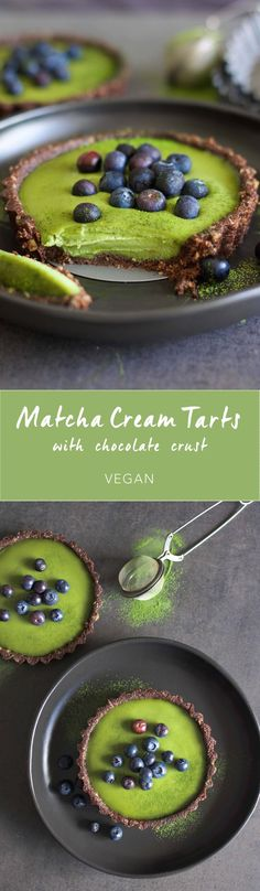 Matcha Cream Tarts with Chocolate Crust - Amy Le Creations Green Tea Recipes, Sweet Recipes, Vegan Recipes, Cooking Recipes, Easy Cooking, Most Popular Recipes, Favorite Recipes, Vegan Sweets, Dessert Recipes