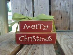 Merry Christmas primitive wood  Bitty BLock Set . . . . Christmas Winter Gift Primitive Wood Block Sign. $8.95, via Etsy.