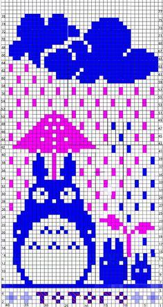 Totoro in the rain Fair Isle Knitting Patterns, Knitting Charts, Knitting Stitches, Embroidery Stitches, Totoro, Crochet Cross, Crochet Chart, Crochet Patterns, Wayuu Animal