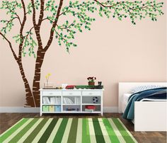 Birch Tree Nursery Wall Decal Forest Canopy Blowing Tree Leaves Vinyl Sticker Removable Choose From Over 50 Colors Custom White 1376 - Modern Tree Decal Nursery, Birch Tree Wall Decal, Tree Wall Murals, Tree Decals, Vinyl Wall Decals, Wall Stickers, Tree Stencil For Wall, Birch Tree Mural, Tree On Wall