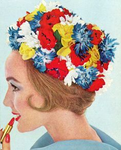 Model wearing a floral hat for Simplicity, 1963.