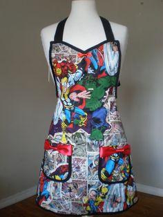 Avengers apron Thor Iron Man Hulk captain by HauteMessThreads,