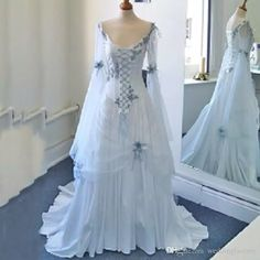 Discount Vintage Celtic Wedding Dresses White And Pale Blue Colorful Medieval Bridal Gowns Scoop Neckline Corset Long Bell Sleeves Appliques Flowers Wedding Dresses For Bride Wedding Dresses Online Cheap From Weddingfactory, $165.83| Dhgate.Com