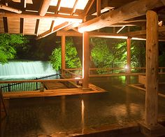 Shima TAMURA. Shima onsen, Gunma, Japan  |   四万たむら 群馬県四万温泉 Spring Spa, Spring Resort, Spring Nature, Hot Springs Japan, Japanese Hot Springs, Japanese Bath, Gunma, Outdoor Baths, Relaxing Bath