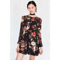 Kimchi Blue Dragonfly Sheer Yoke Mini Frock Dress ($69) ❤ liked on Polyvore featuring dresses, sheer sleeve dress, long slip, long sleeve dress, slip dress and long-sleeve mini dress