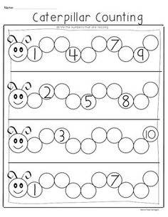 {CATERPILLAR COUNTING FREEBIE} COMMON CORE MATH FOR KINDERGARTEN! - TeachersPayTeachers.com