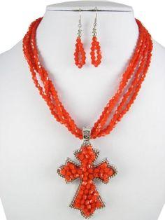 Delicately Beaded Cross Pendant necklace set by RainingRustic, $20.00