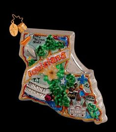"Cities and States Ornaments by Christopher Radko The Bayou State 5.5""wide"