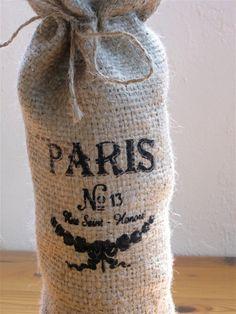 Wine Bottle Burlap Bag ECO FRIENDLYrustic french by NaturesCabinet, $10.00