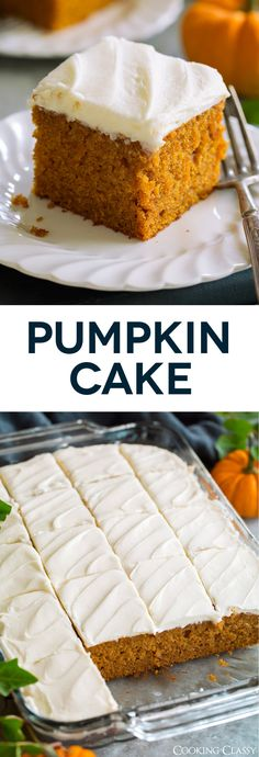 Cake - this is a STAPLE fall recipe! It's so easy and so delicious! And who can resist that luscious cream cheese frosting? via Cake - this is a STAPLE fall recipe! It's so easy and so delicious! And who can resist that luscious cream cheese frosting? Pumkin Cake, Pumpkin Cake Recipes, Easy Cake Recipes, Fall Recipes, Baking Recipes, Dessert Recipes, Easy Pumpkin Cake, Easy Pumpkin Desserts, Canned Pumpkin Recipes