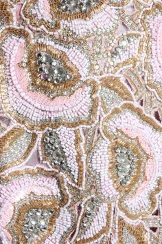 Detail of the embroidery on a Valentino gazar ball gown with 'jewelled' bolero, c.1983.
