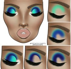 ⠀⠀⠀Swipe for more. 🎨 ⠀ ⠀ If you gonna recreate one of my face charts please make sure to tag me. (use my new hashtag Bright Eye Makeup, Makeup Eye Looks, Colorful Eye Makeup, Blue Makeup, Skin Makeup, Eyeshadow Makeup, Makeup Face Charts, Eye Makeup Designs, Creative Makeup Looks