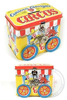 Curious George Circus Bank - Classic Tin Toy Wagon