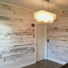Wood Pallets Ideas Here's a look at a recent white wall we created using our reclaimed white barn wood skins. White barn wood walls look soooo good! Look Wallpaper, Bedroom Wallpaper, Wallpaper Ideas, Wallpaper Accent Walls, Trendy Wallpaper, White Barn, Ship Lap Walls, Basement Remodeling, Bedroom Remodeling
