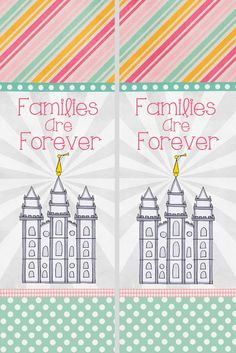 """A Pocket full of LDS prints: 2014 Primary Theme free printables """"Families are Forever"""", bookmarks. Possible gifts for turning 8 or birthdays"""