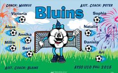 Bluins-47456  digitally printed vinyl soccer sports team banner. Made in the USA and shipped fast by BannersUSA. www.bannersusa.com