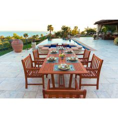 Malibu Eco-friendly 7-piece Eucalyptus Wood Extendable Outdoor Dining Set