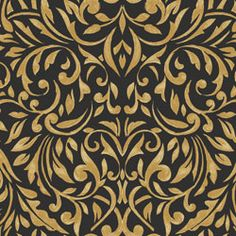 Benartex My True Love Acanthus Scroll Black Gold