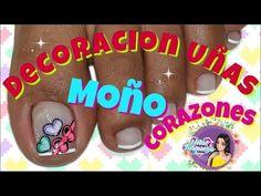 Decoración de Uñas Moño/Uñas Moño - YouTube Toe Nail Art, Toe Nails, Toe Nail Designs, Pedicure, Amanda, Hair Beauty, Youtube, Models, Simple Toe Nails