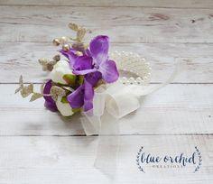 Silk Wrist Corsage - Purple Wrist Corsage - Wristlet Corsage - Wedding Corsage by blueorchidcreations on Etsy