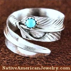 Native American Turquoise Adjustable Feather Ring