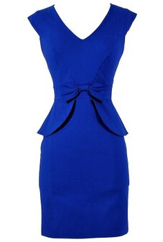 royal blue, peplum, and a bow.