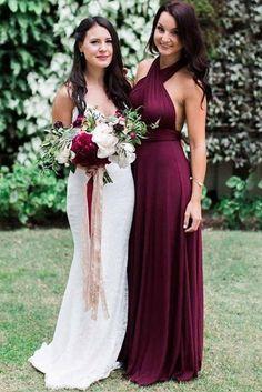 Charming Burgundy A-Line Halter Backless Maroon Chiffon Bridesmaid Dress with Sash PM16