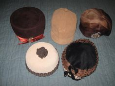 Vintage 40s 50s 60s Estate Lot 5 Brown Beige Felted Fur Hats Pillbox Equestrian