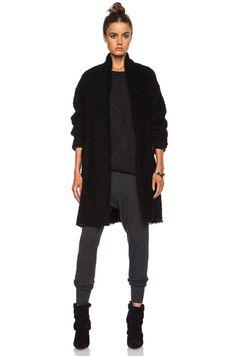 Isabel Marant|Gabriel Herringbone Wool-Blend Coat in Black - CASHMERE LEGGING