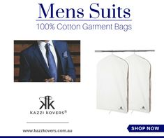 Look after your suits!  Kazzi Kovers offers the finest in Suit and Garment Protection. Our 100% natural cotton men's suits garment bags are the most effective and environmentally friendly solution to suit storage and preservation.  Each bag includes a full-length side zipper, and it is fully-enclosed to deter moths and pesky insects. Our garment bags also protect your garments from dust, dirt, mould, mildew and moisture throughout the seasons.  Breathable | Hygienic | Acid-Free
