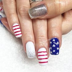Polished Pinkies Utah Red White And Blue Nails For The Patriotic Month Of July Add A Little Sparkle Cause It Never Hurts Manicure Gel