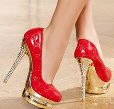 Red And Gold High Heels