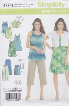 Simplicity Sewing Pattern 3799 Misses' Dress or Tunic Cropped Pants City Shorts Jacket New UNCUT by SheerWhimsyDesigns on Etsy