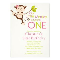 Cute Modern Monkey 1st Birthday Party Invitations from Zazzle.com
