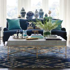 Coastal Living Rooms, New Living Room, Formal Living Rooms, Blue Couch Living Room, Blue Living Room Furniture, Navy And White Living Room, Sala Grande, Decoration Inspiration, Decor Ideas