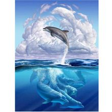 Dolphins NEW 3D DIY Diamond Painting Cross Stitch Crystal Needlework Diamond Embroidery Full Diamond Decorative RS330(China (Mainland))