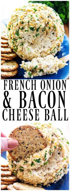 FRENCH ONION & BACON CHEESE BALL - Caramelized onions, Gruyere and cream cheese coated in crunchy fried onions and chives makes for an insanely delicious appetizer. #appetizer #appetizerrecipe #holidays #holidayrecipes #frenchonion #cheeseballs #cheese #nobake #bacon