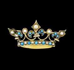 Seed Pearl and Turquoise Crown Motif Pin - 9KT Yellow Gold Lot 280  | eBay
