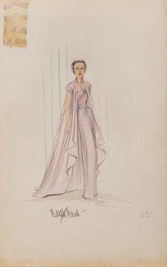 205: SUNSET BOULEVARD COSTUME SKETCH OF GLORIA SWANSON