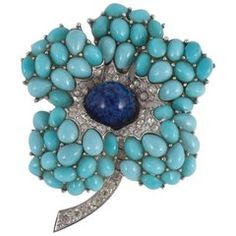 Marcel Boucher turquoise and lapiz set in Rhodium plate 3D flower brooch,  1960s