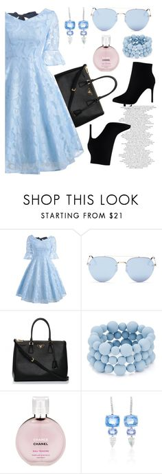 """""""💙"""" by ladyroseee ❤ liked on Polyvore featuring Quay, Prada, Aqua, Chanel and Sidney Garber"""