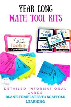 Give your students the math tools they need to grow, be independent and make connections. These Math Tool Kits have detailed informational cards along with writeable templates to support students at all levels. With many options, you can create differenti Math Tools, Classroom Tools, Classroom Organization, Classroom Decor, Teaching Math, Teaching Ideas, Math Drills, Math Charts, Math Manipulatives