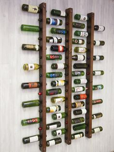 Wine rack 16 bottle ladders set of 3 # bottle ladders # wine .- Weinregal 16 Flaschenleitern Set Wine rack 16 bottle ladders set of 3 shelf - Rough Wood, Small Space Storage, Tuscan Design, Copper Accents, Creative Storage, Storage Ideas, Storage Organization, Creative Ideas, Wine Storage