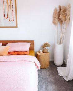 Our Wildflower Pink & Mustard French linen bedding sitting pretty in the home of Ellie Bullen What's Decoration? Decoration is … Quirky Home Decor, Indian Home Decor, Cheap Home Decor, Diy Home Decor, Home Decor Quotes, Home Decor Signs, Guest Bedrooms, New Room, Home Decor Inspiration
