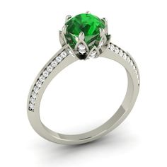 Natural Emerald & SI Diamond In 14k White Gold Engagement Ring- 1.63 Ct | eBay