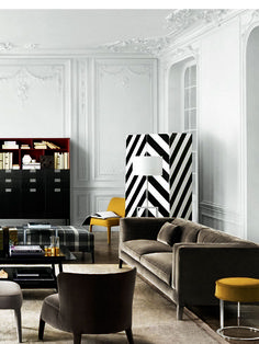A simple interior design is more suitable to be used for you who love to get modern and elegant home. This kind of interior design is also easy to be created. Living Room Interior, Home Living Room, Living Room Decor, Living Room Inspiration, Interior Inspiration, Interior Ideas, Black And White Living Room, Design Salon, Piece A Vivre