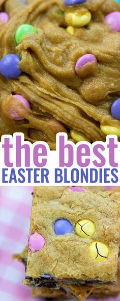 These Easter Blondies only take 1 bowl and 5 minutes of hands on time to whip up and they turn out so soft and chewy every time! #easter #blondies #cookies