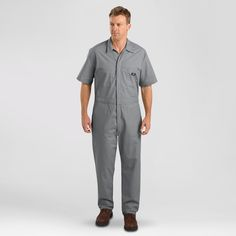 Dickies Men's Big & Tall Short Sleeve Coverall- Gray Xxxl